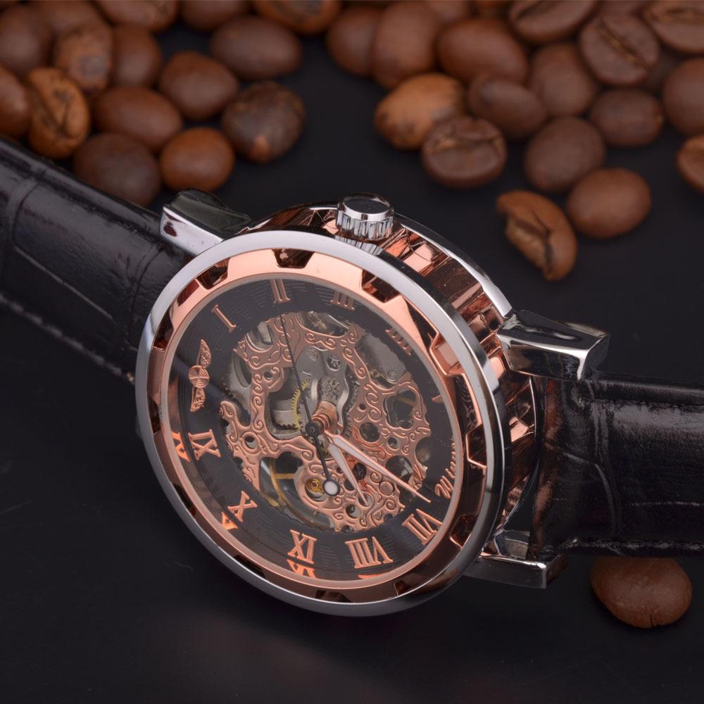 Победитель скелет черный стальной синие руки светящиеся мужские часы лучший бренд роскошных часов мужчины montre homme автоматические часы.